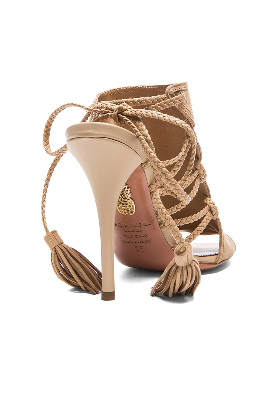 Image 3 of Aquazzura Sahara Suede Heels in Nude