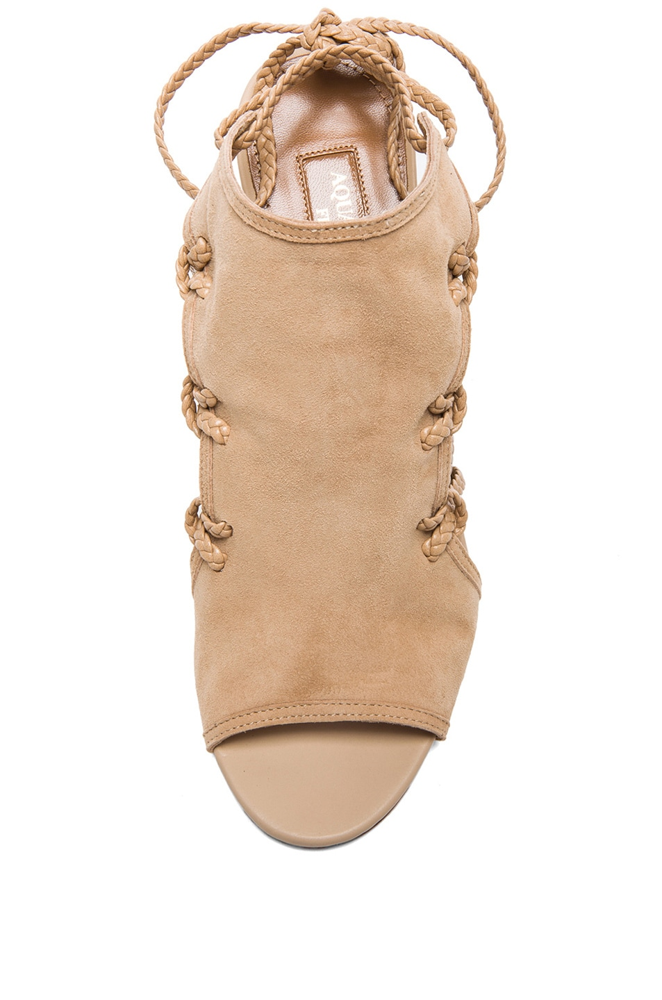 Image 4 of Aquazzura Sahara Suede Heels in Nude