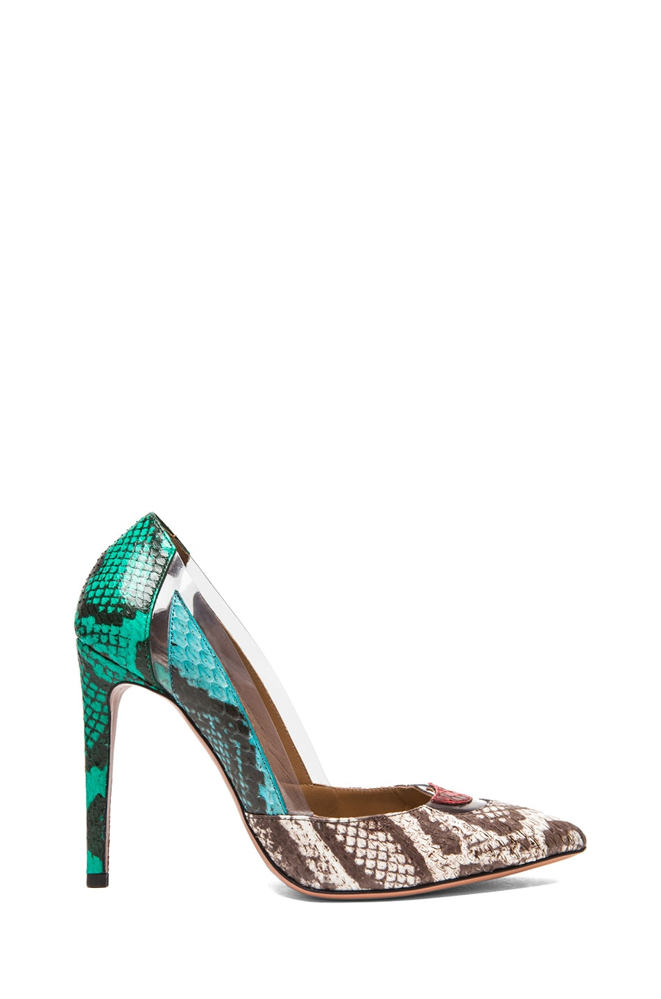 Image 1 of Aquazzura Positano Elaphe Snakeskin Heels in Multi