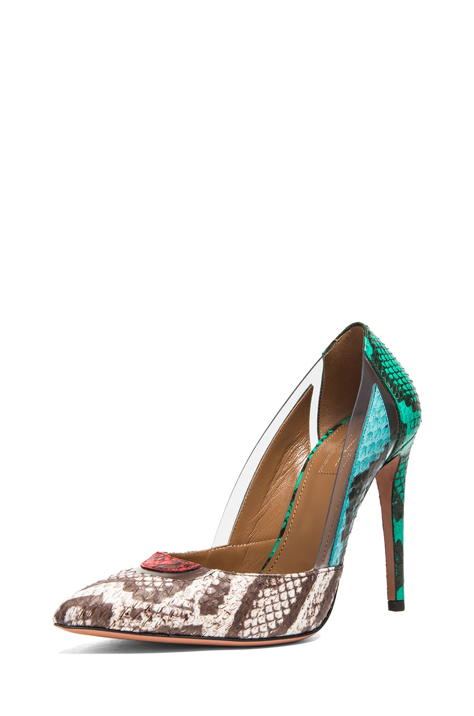 Image 2 of Aquazzura Positano Elaphe Snakeskin Heels in Multi