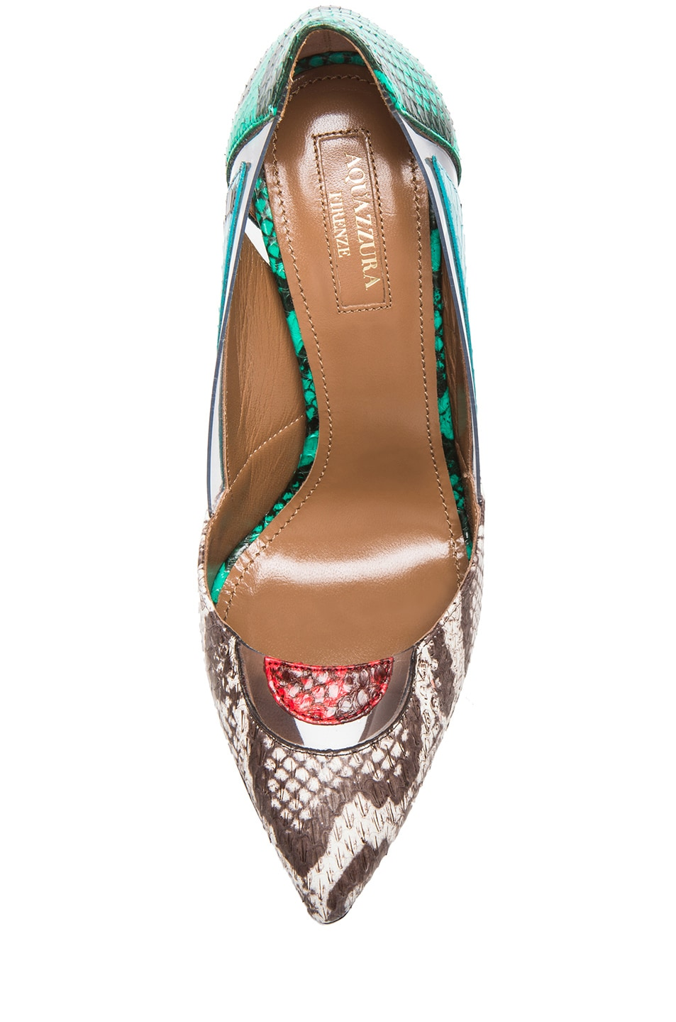 Image 4 of Aquazzura Positano Elaphe Snakeskin Heels in Multi
