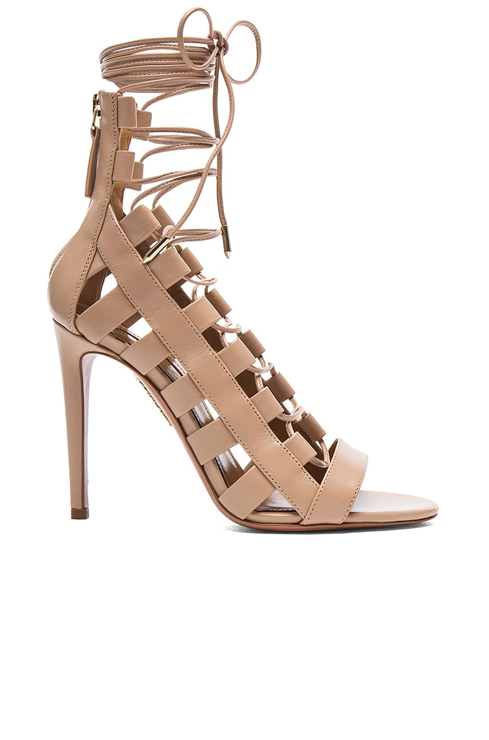 Image 1 of Aquazzura Amazon Leather Heels in Nude