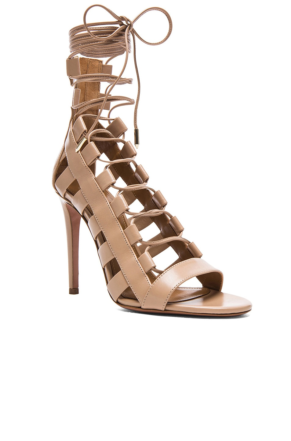 Image 2 of Aquazzura Amazon Leather Heels in Nude