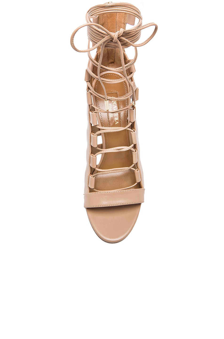 Image 4 of Aquazzura Amazon Leather Heels in Nude