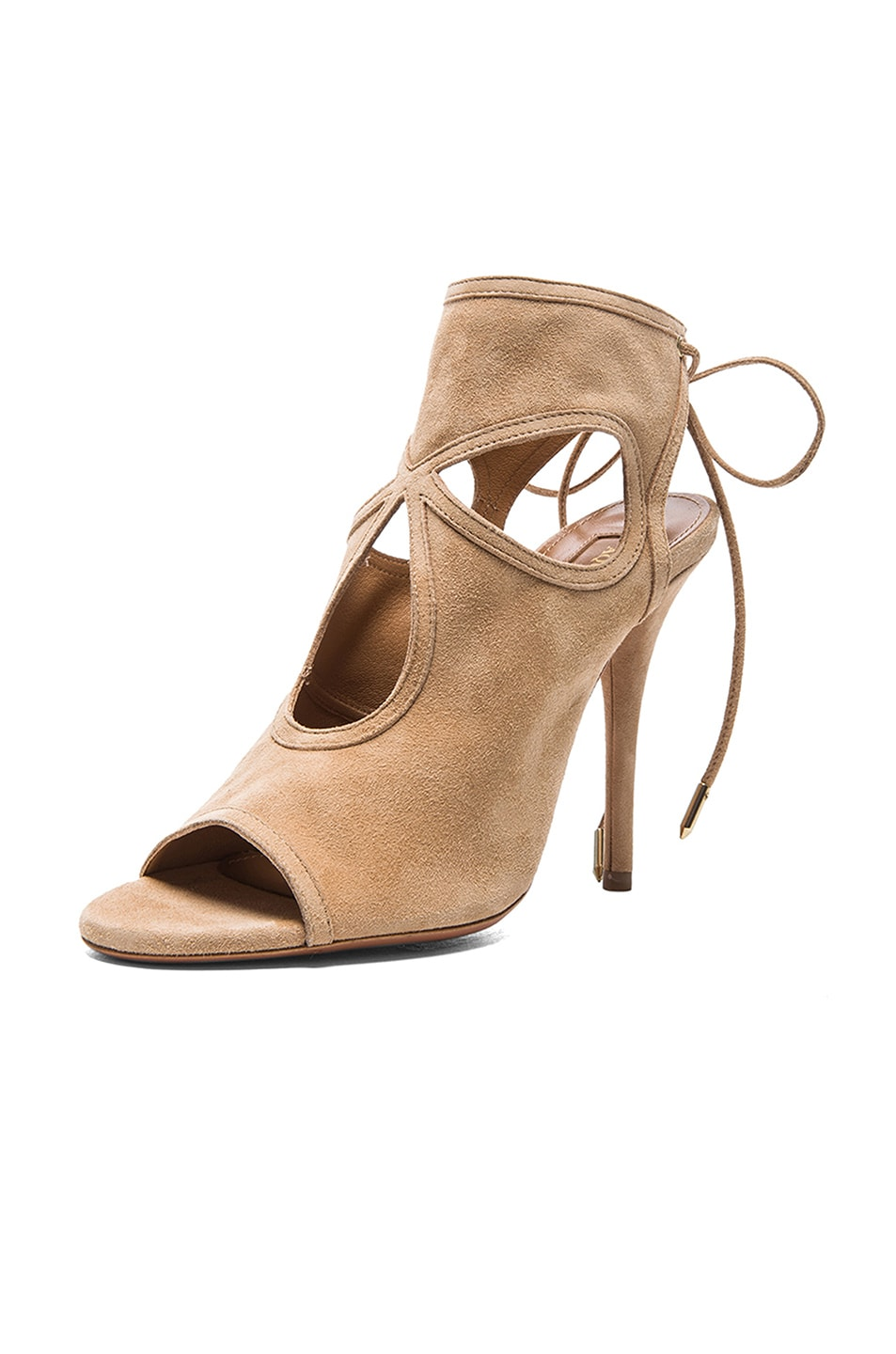 Image 2 of Aquazzura Sexy Thing Suede Sandals in Nude
