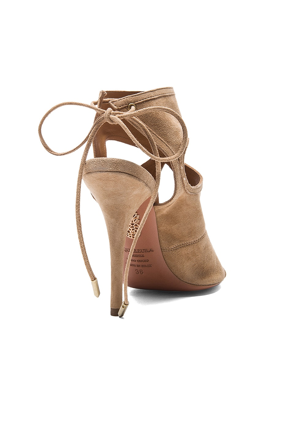 Image 3 of Aquazzura Sexy Thing Suede Sandals in Nude