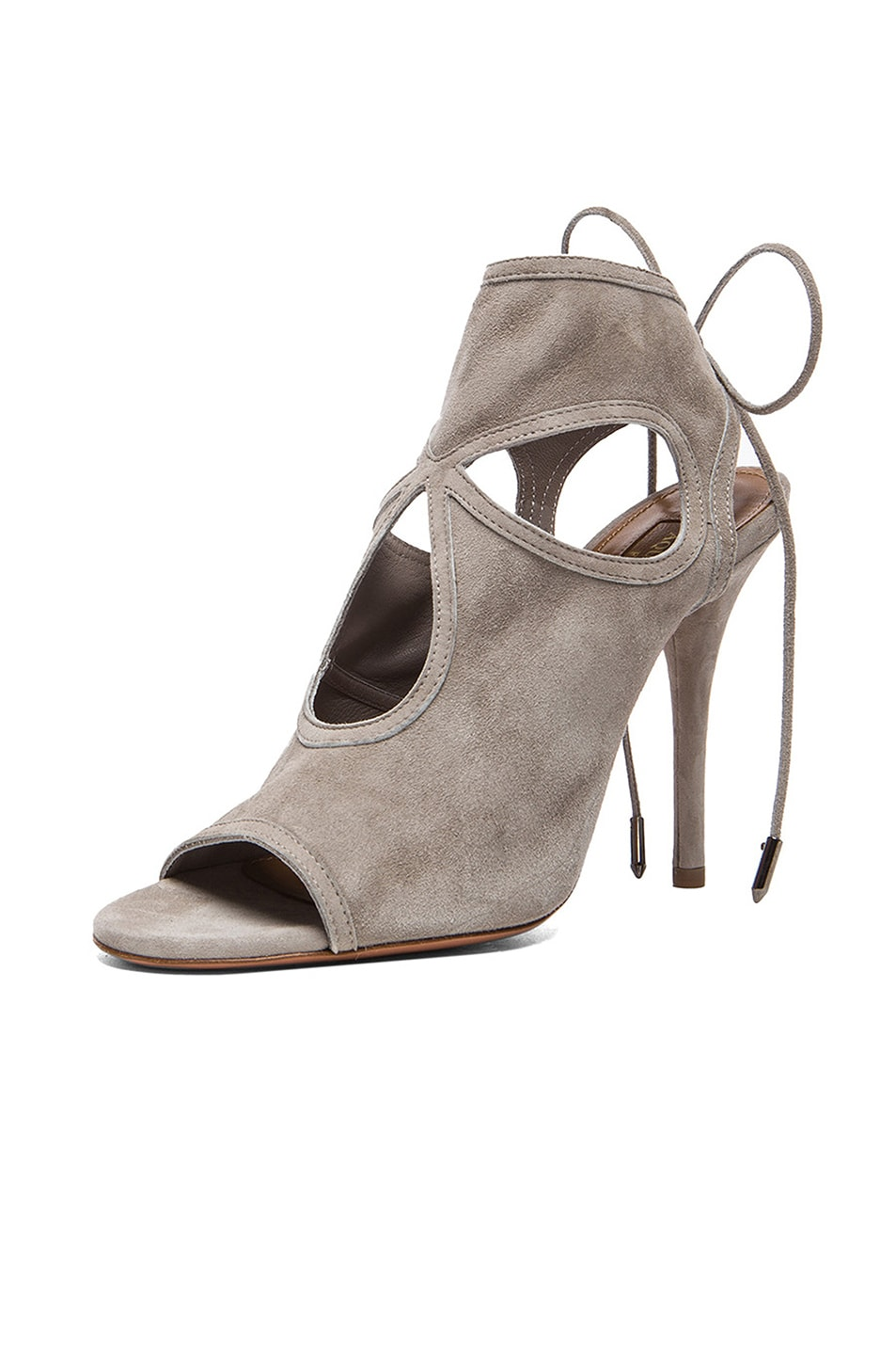 Image 2 of Aquazzura Sexy Thing Suede Heels in Light Grey