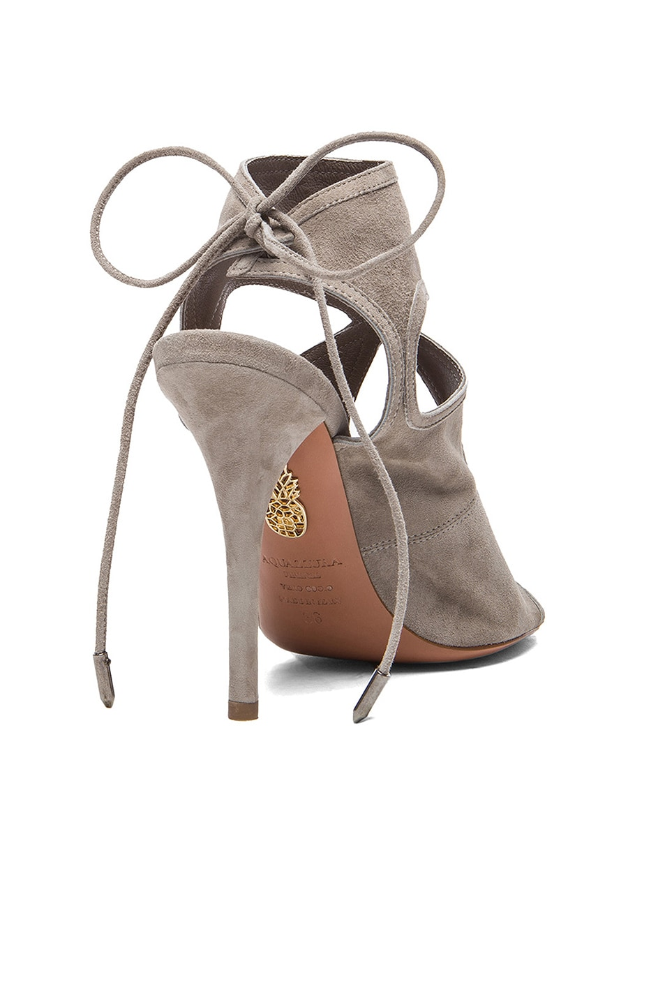 Image 3 of Aquazzura Sexy Thing Suede Heels in Light Grey