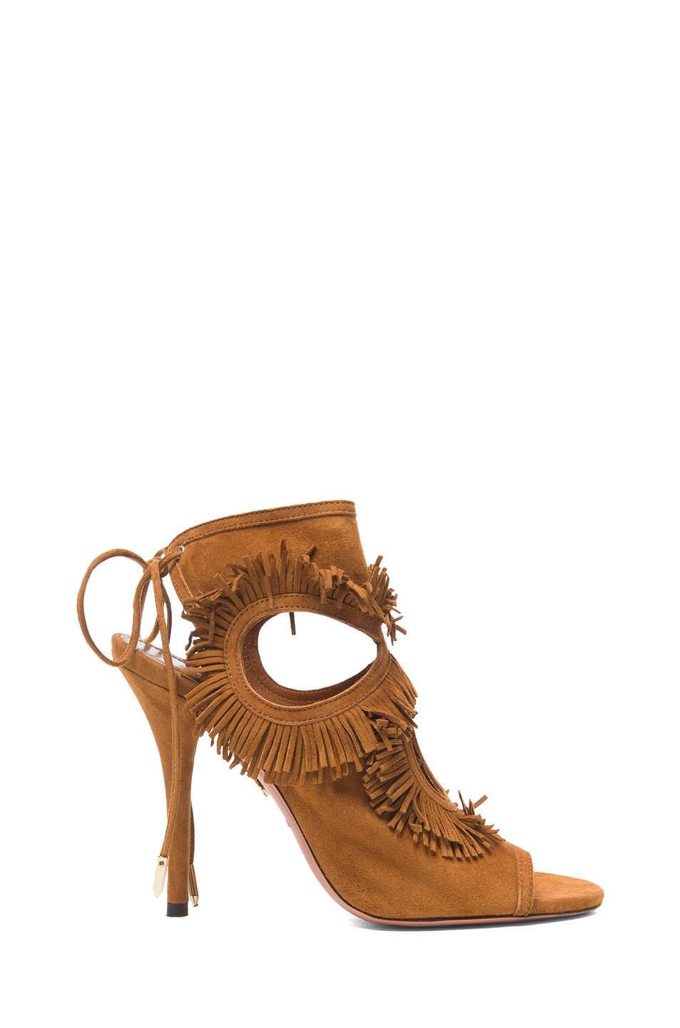 Image 1 of Aquazzura Sexy Thing Suede Fringe Heels in Cognac