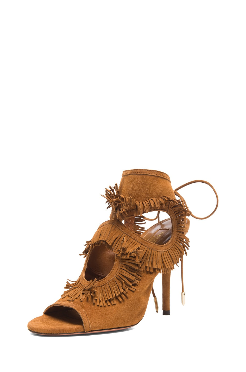 Image 2 of Aquazzura Sexy Thing Suede Fringe Heels in Cognac