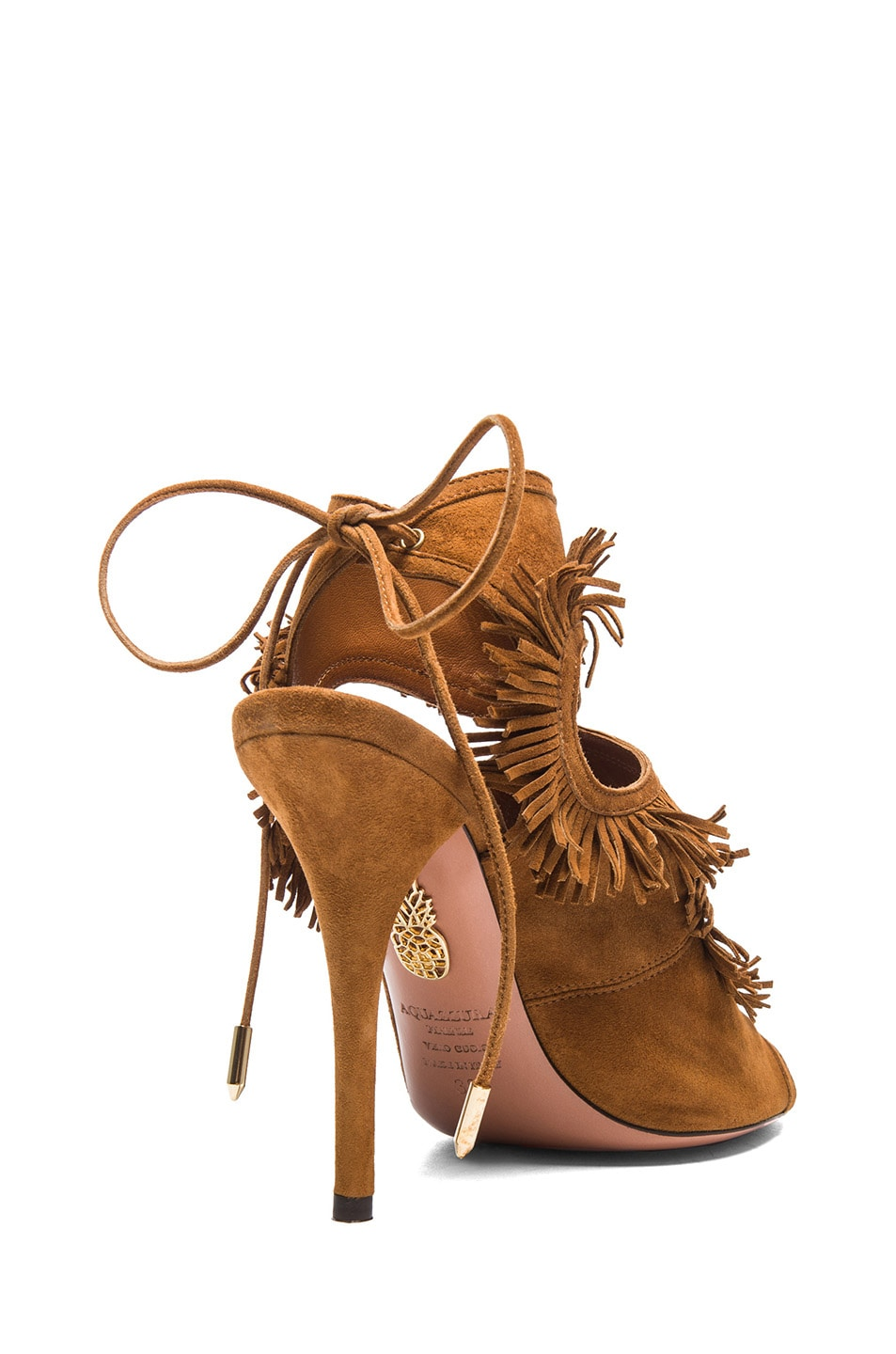 Image 3 of Aquazzura Sexy Thing Suede Fringe Heels in Cognac