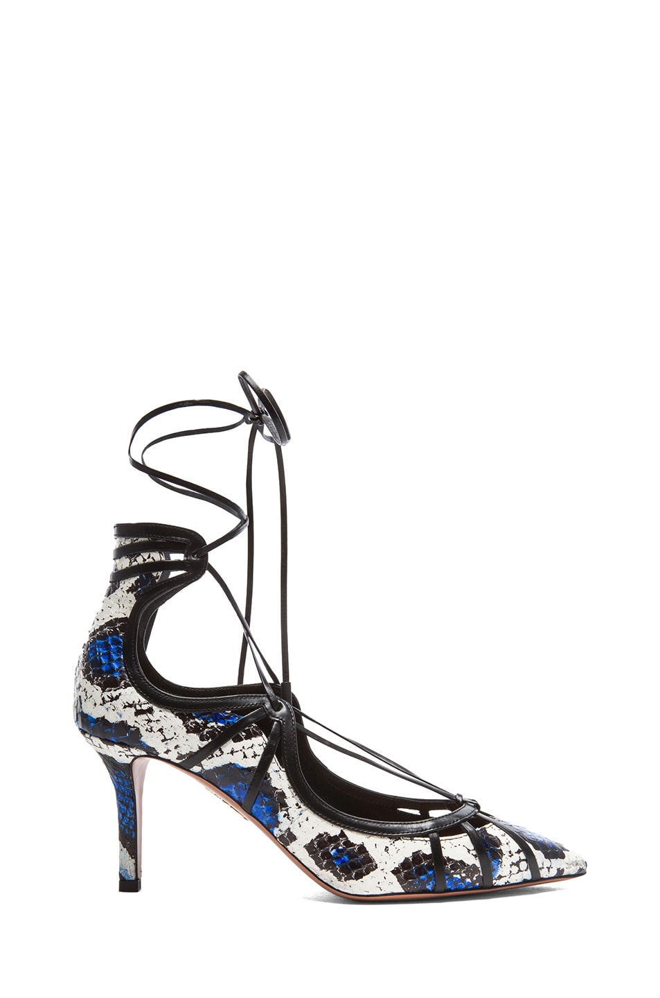 Image 1 of Aquazzura Seduce Me Elaphe Snakeskin Heels in White & Blue