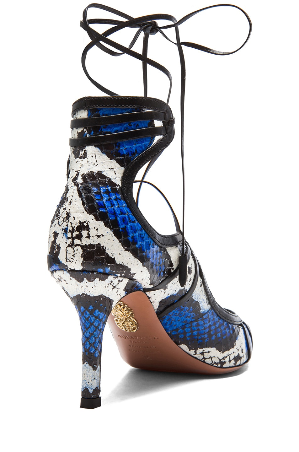 Image 3 of Aquazzura Seduce Me Elaphe Snakeskin Heels in White & Blue