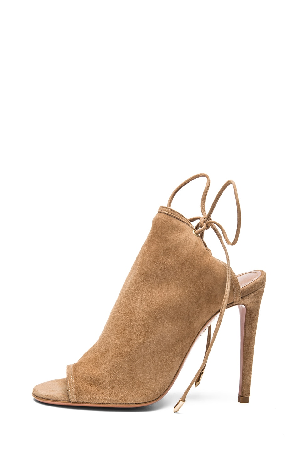 Image 1 of Aquazzura Mayfair Suede Sandals in Nude