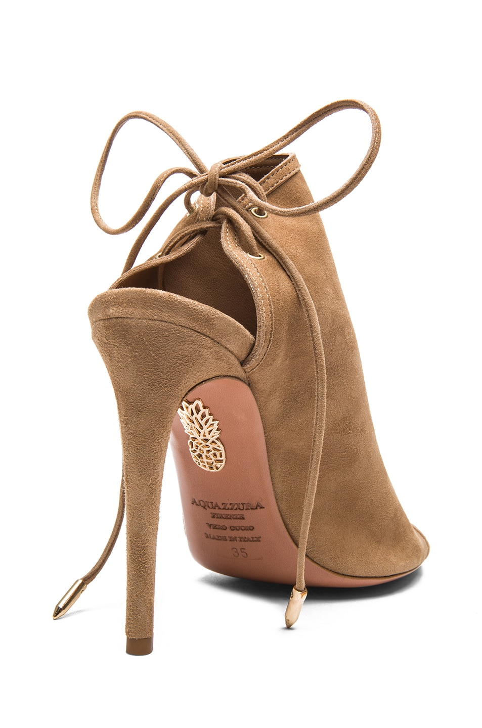Image 3 of Aquazzura Mayfair Suede Sandals in Nude
