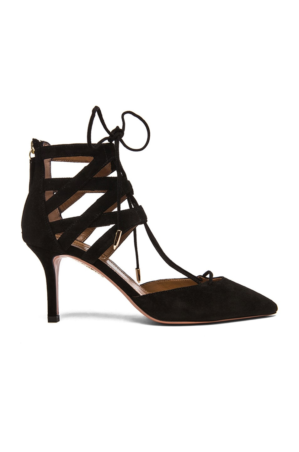 Image 1 of Aquazzura Belgravia Suede Lace Up Pumps in Black