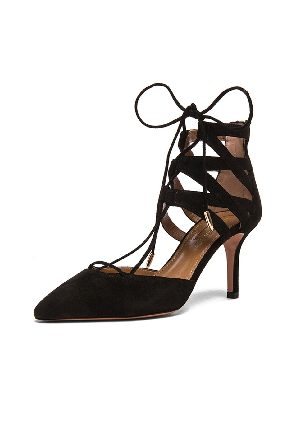 Image 2 of Aquazzura Belgravia Suede Lace Up Pumps in Black