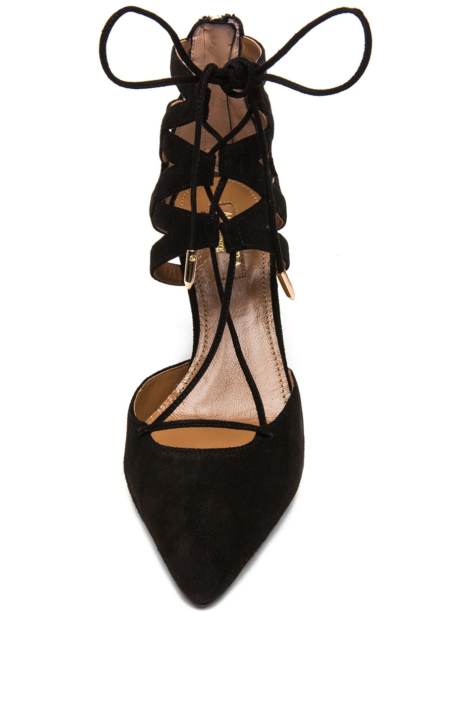 Image 4 of Aquazzura Belgravia Suede Lace Up Pumps in Black