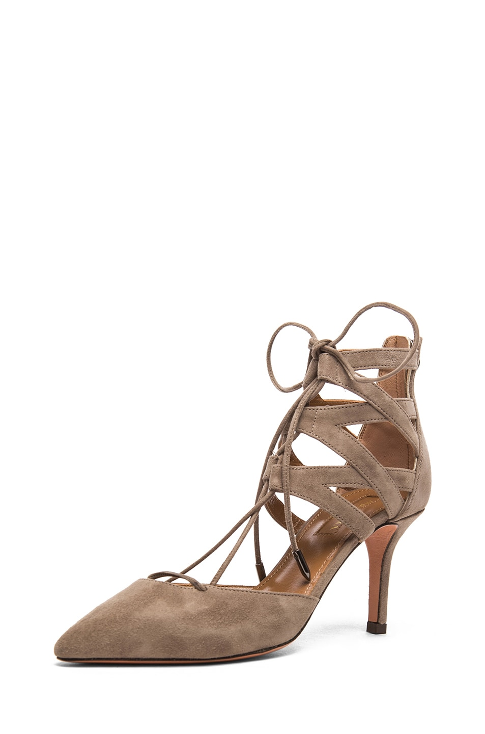 Image 2 of Aquazzura Belgravia Suede Lace Up Pumps in Taupe