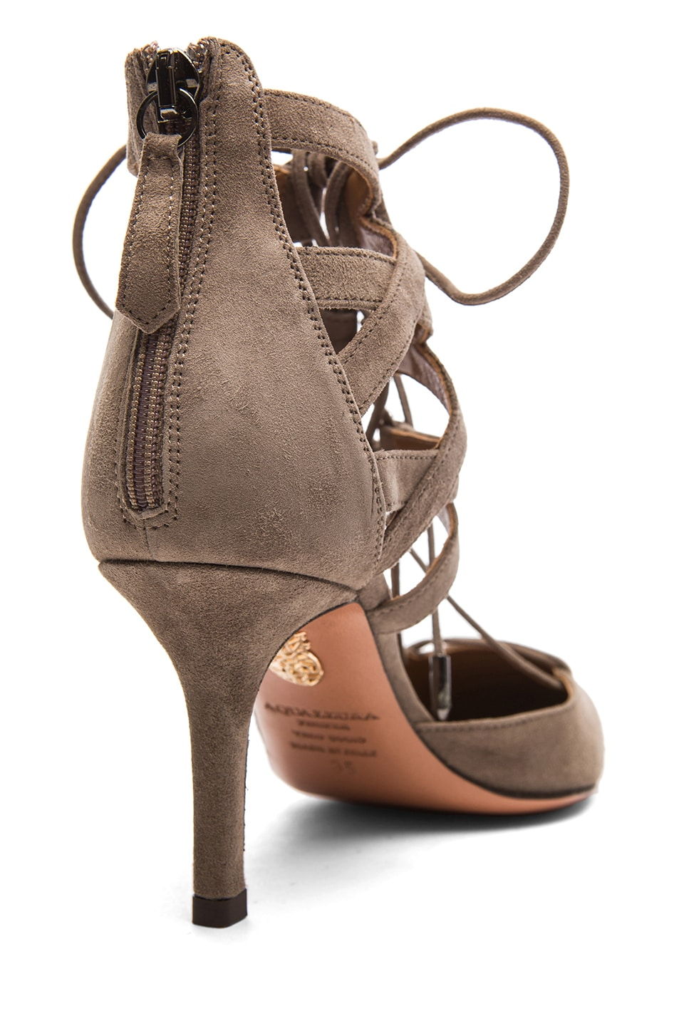 Image 3 of Aquazzura Belgravia Suede Lace Up Pumps in Taupe