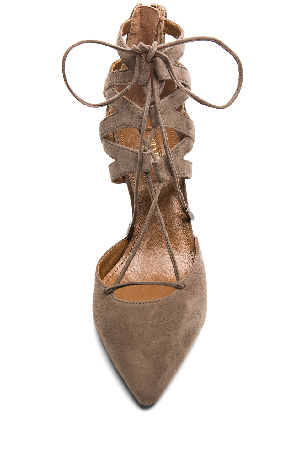 Image 4 of Aquazzura Belgravia Suede Lace Up Pumps in Taupe