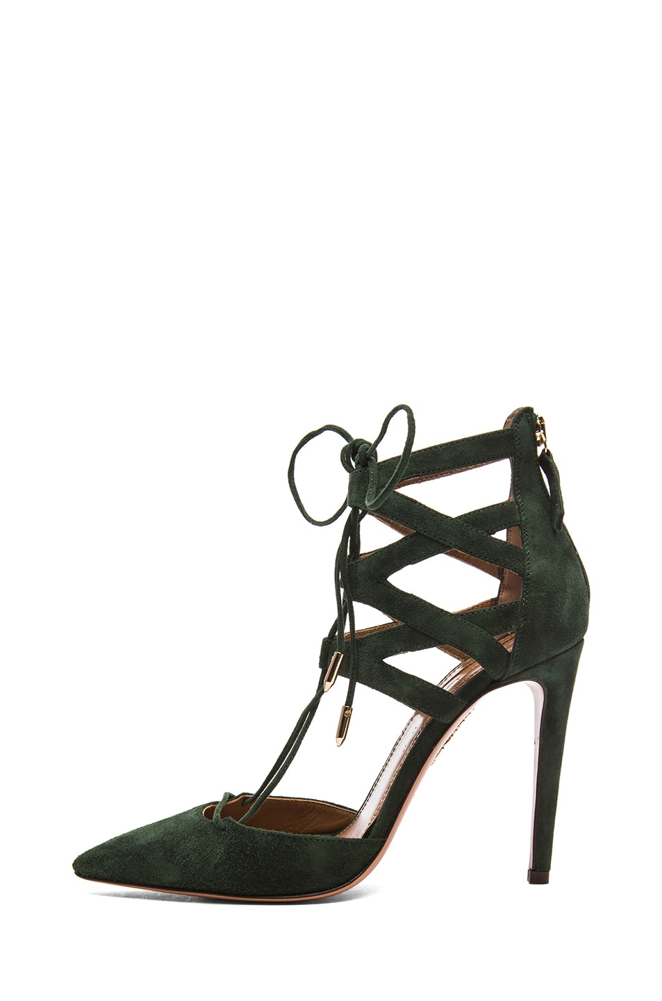 Image 1 of Aquazzura Belgravia Suede Lace Up Pumps in Forest Green