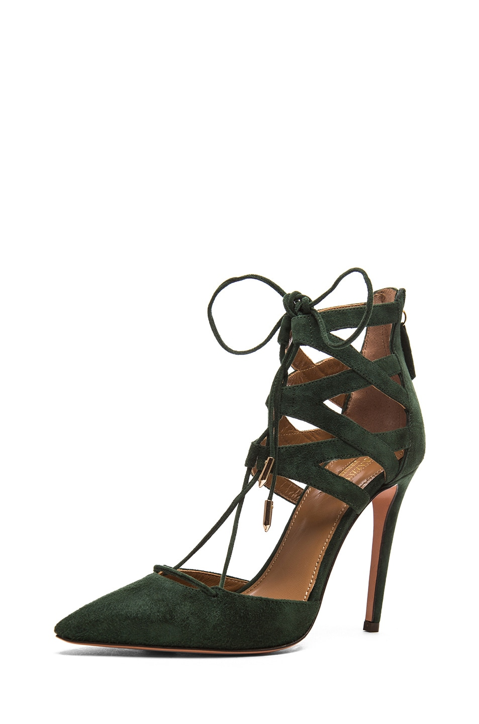 Image 2 of Aquazzura Belgravia Suede Lace Up Pumps in Forest Green