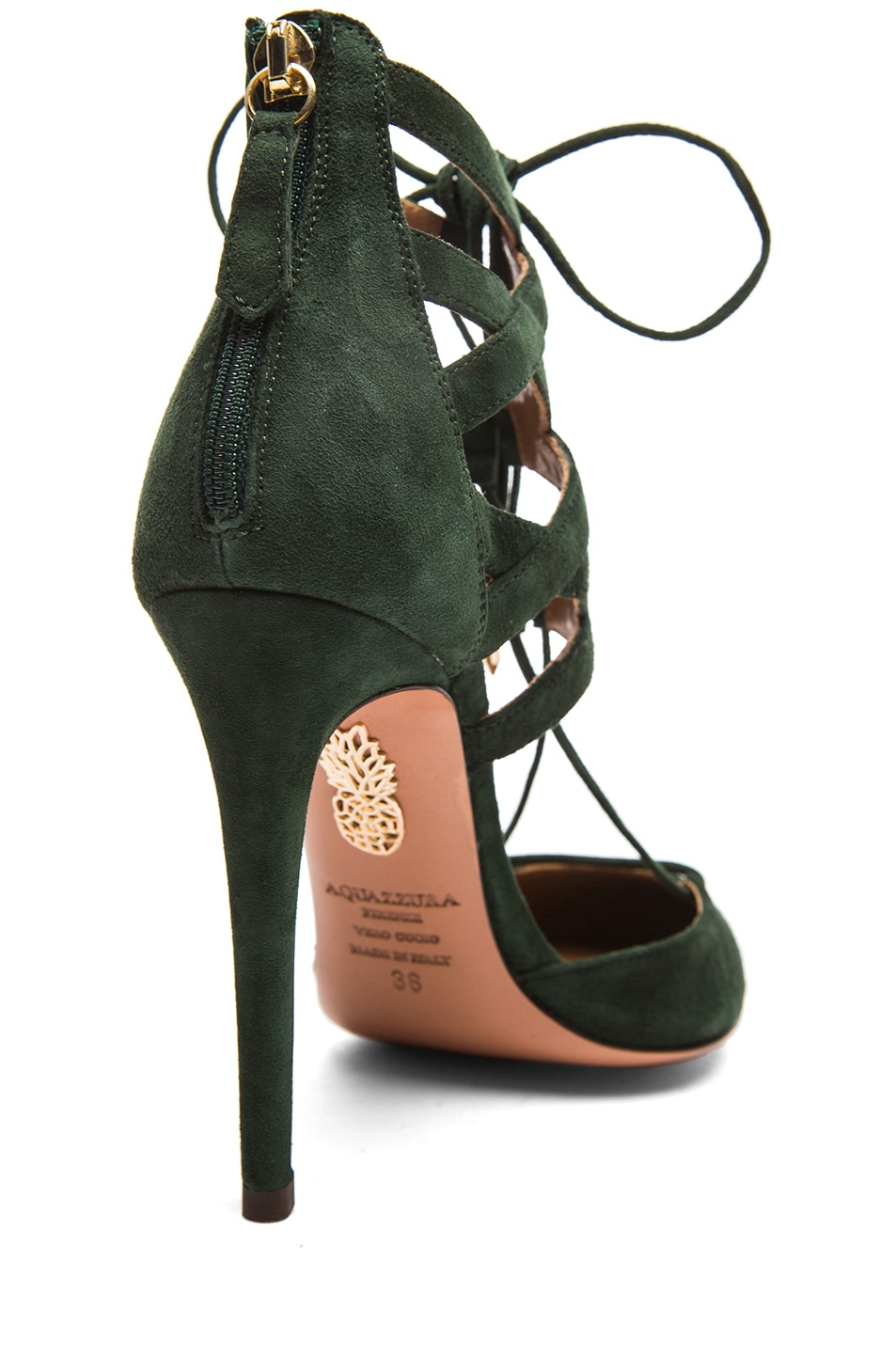 Image 3 of Aquazzura Belgravia Suede Lace Up Pumps in Forest Green