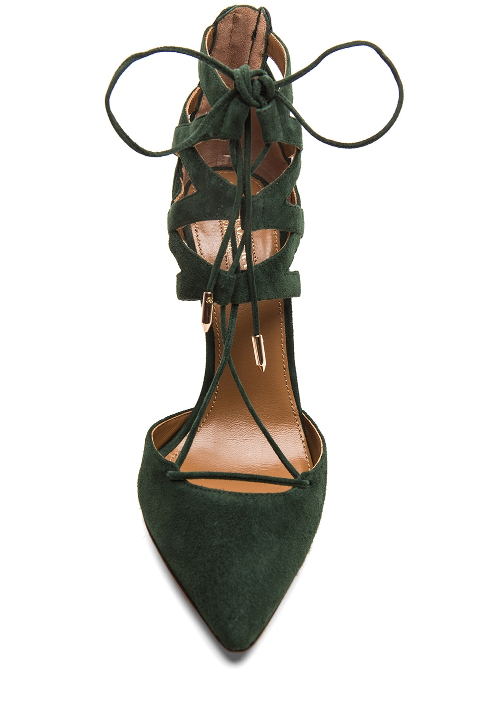Image 4 of Aquazzura Belgravia Suede Lace Up Pumps in Forest Green