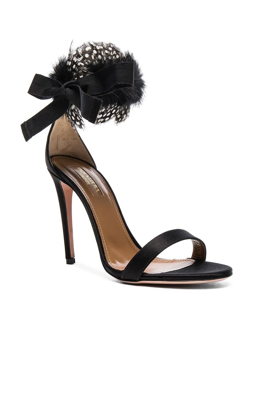 Image 2 of Aquazzura Iris Satin Heels in Black