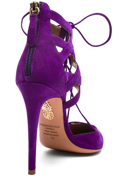 Image 3 of Aquazzura Belgravia Suede Lace Up Pumps in Violet