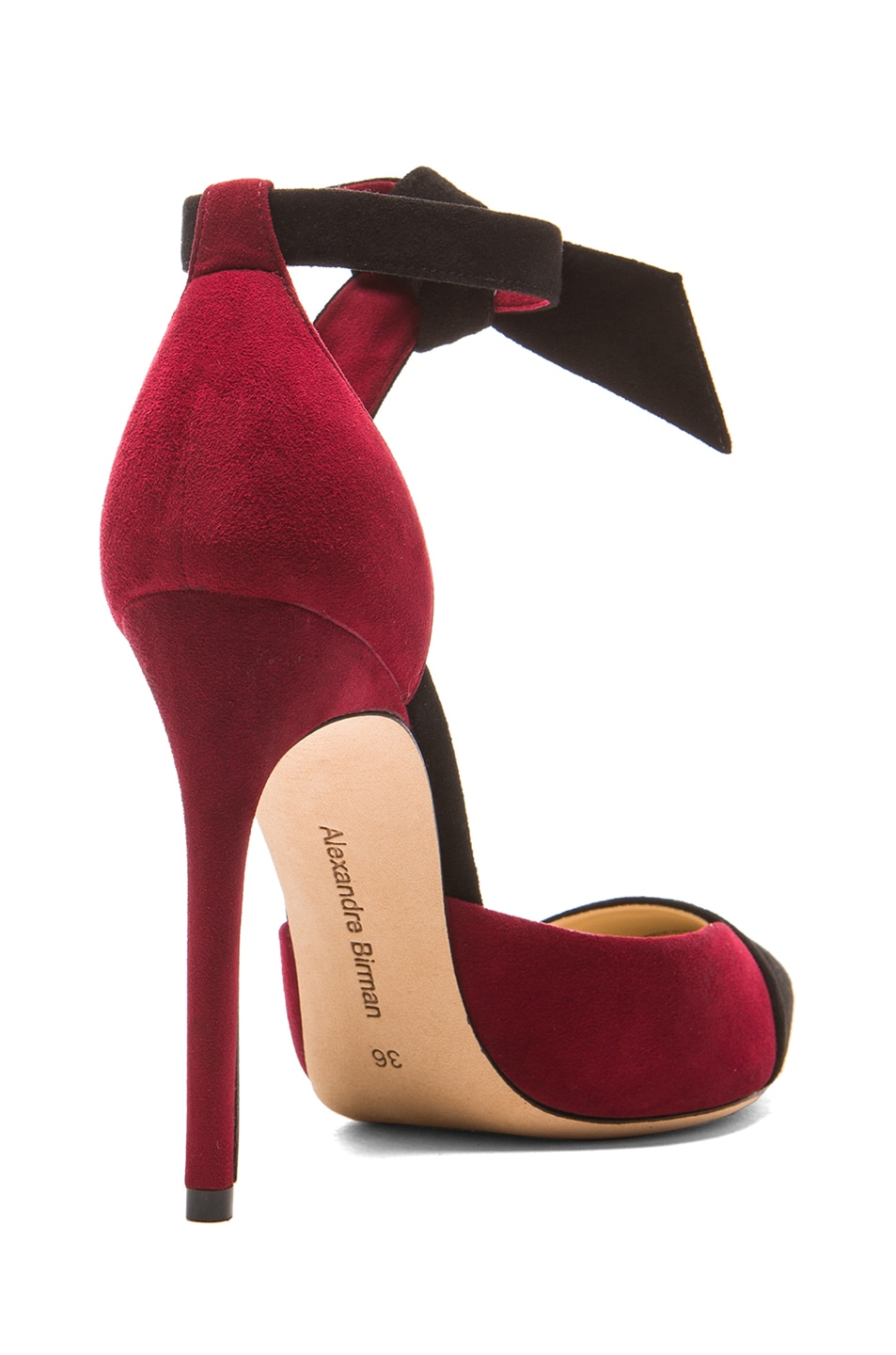 Image 3 of Alexandre Birman Leena Suede Pumps in Vino & Black
