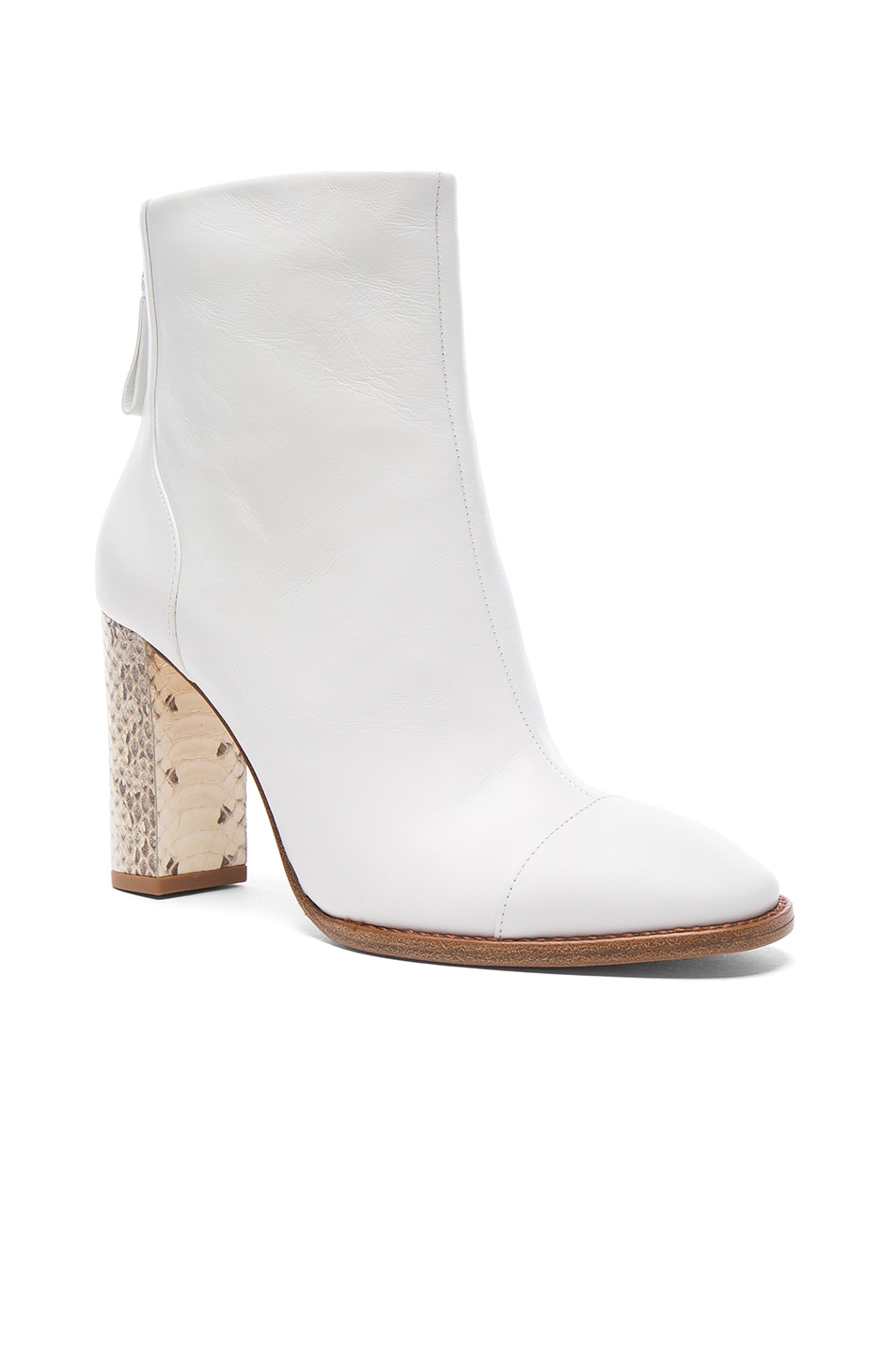 Image 2 of Alexandre Birman Leather Bibiana Watersnake Booties in White & Natural