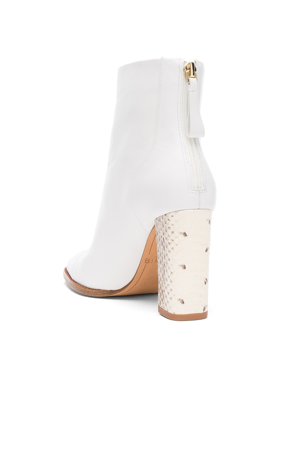 Image 3 of Alexandre Birman Leather Bibiana Watersnake Booties in White & Natural