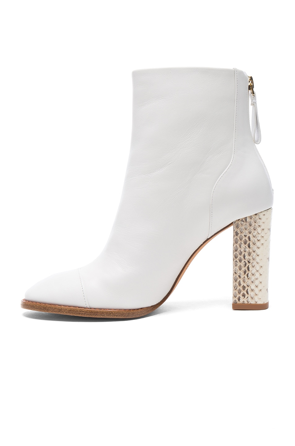 Image 5 of Alexandre Birman Leather Bibiana Watersnake Booties in White & Natural