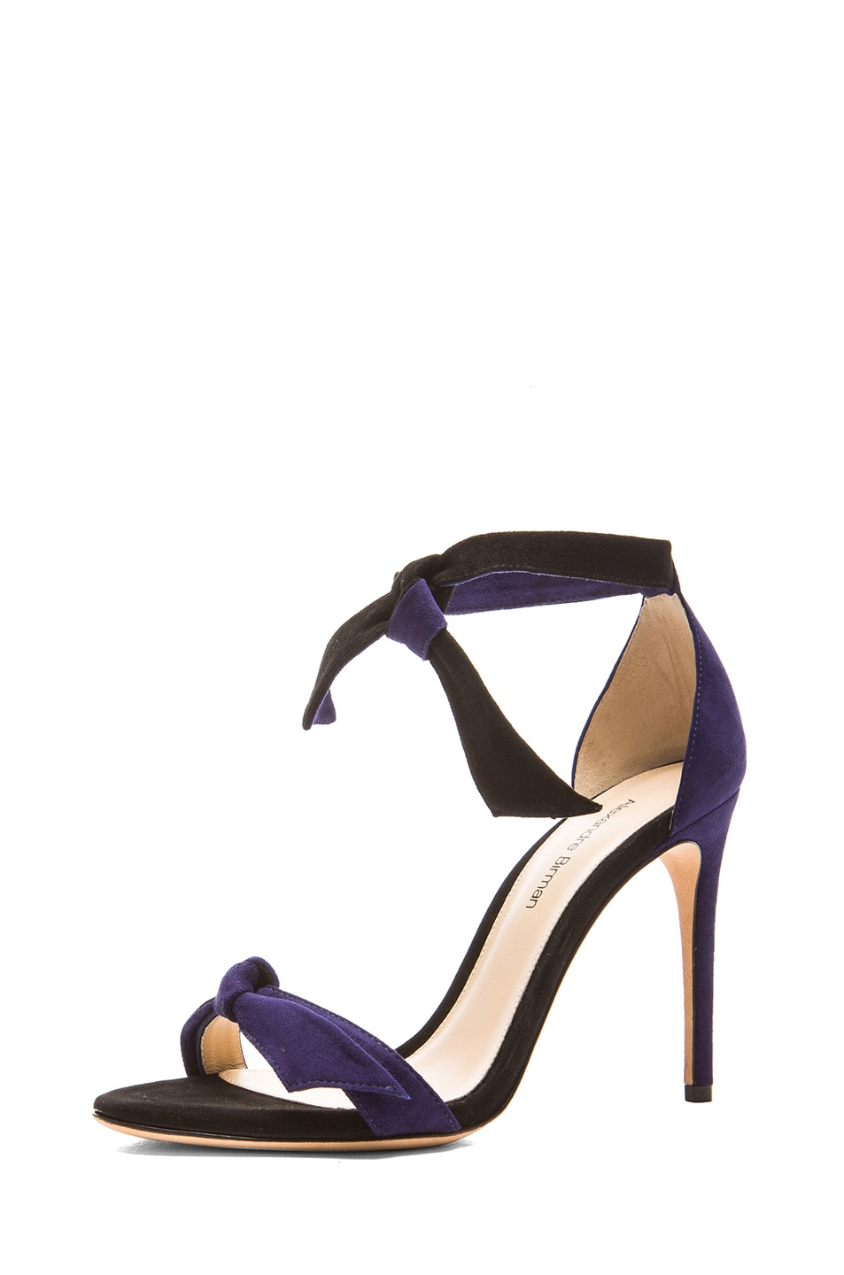 Image 2 of Alexandre Birman Clarita Suede Sandals in Navy & Black
