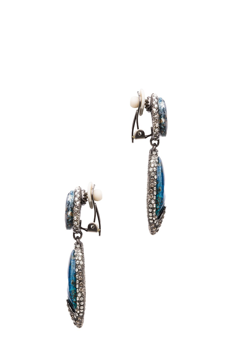 Image 2 of Alexis Bittar Drop Clip Earring in Antique Rhodium Chrysocolla