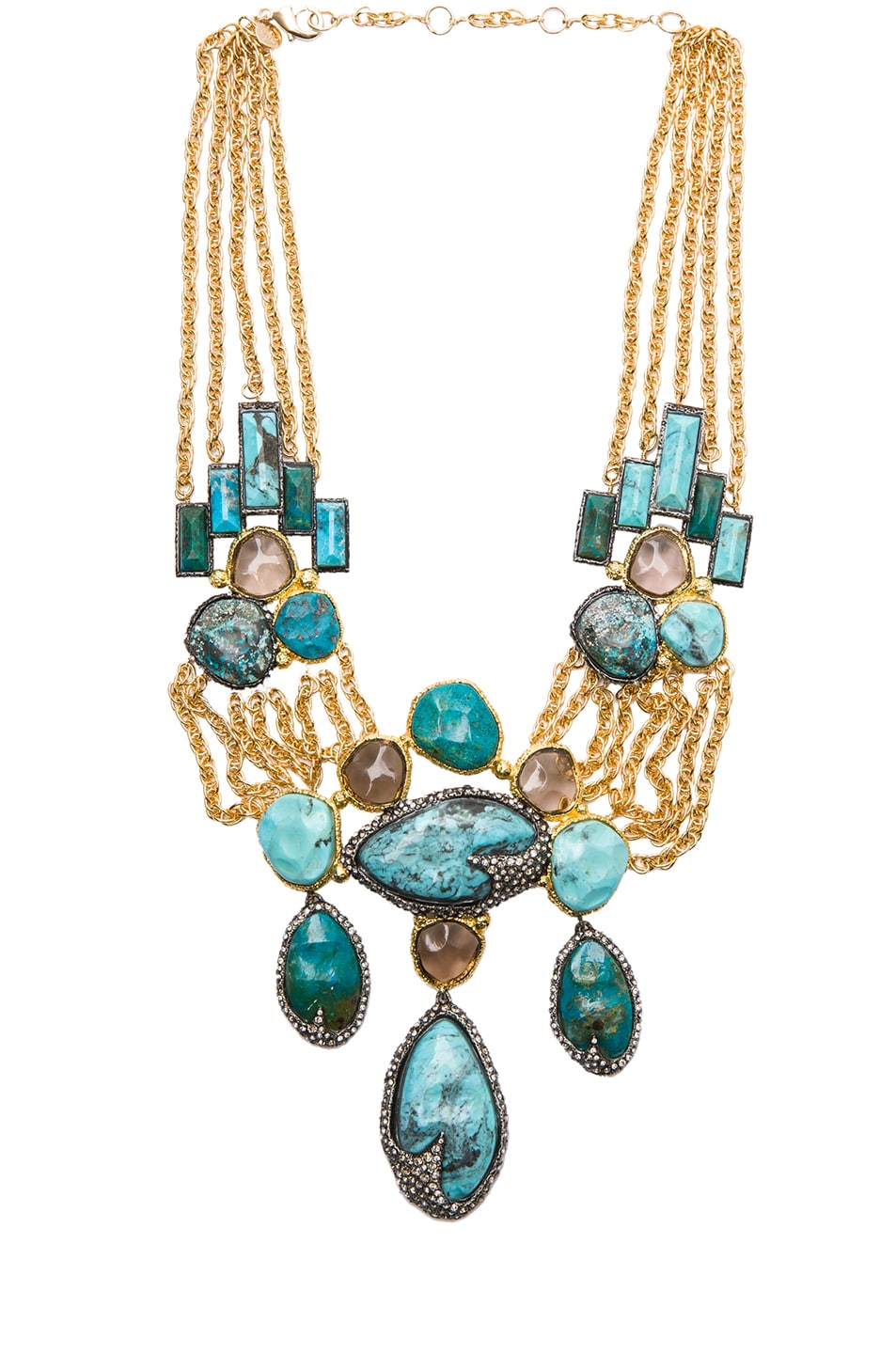 Image 1 of Alexis Bittar Large Chrysocolla Necklace in Cordova Gold & Antique Rhodium