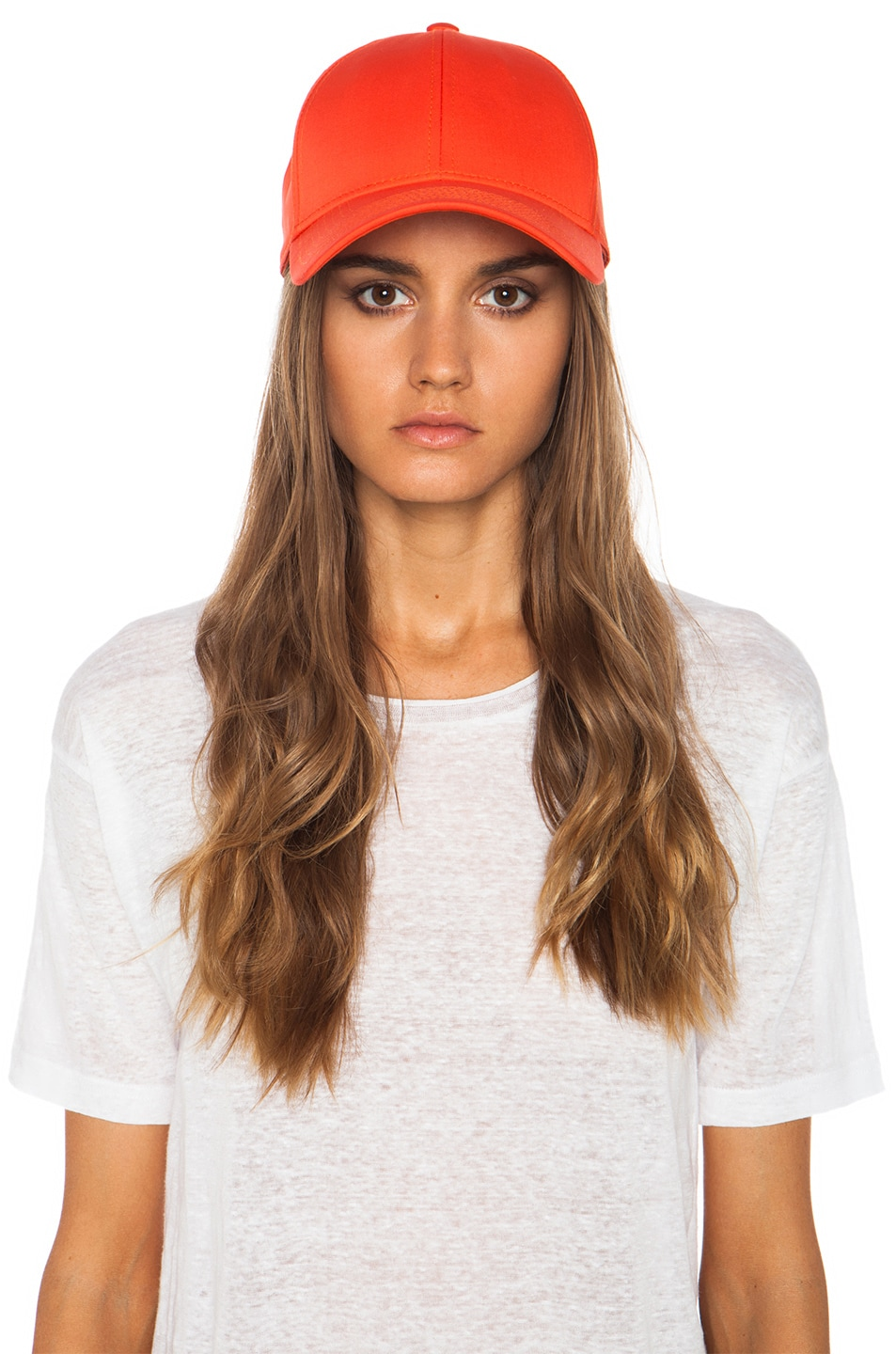 Image 5 of Acne Studios Satin Camp Hat in Orange