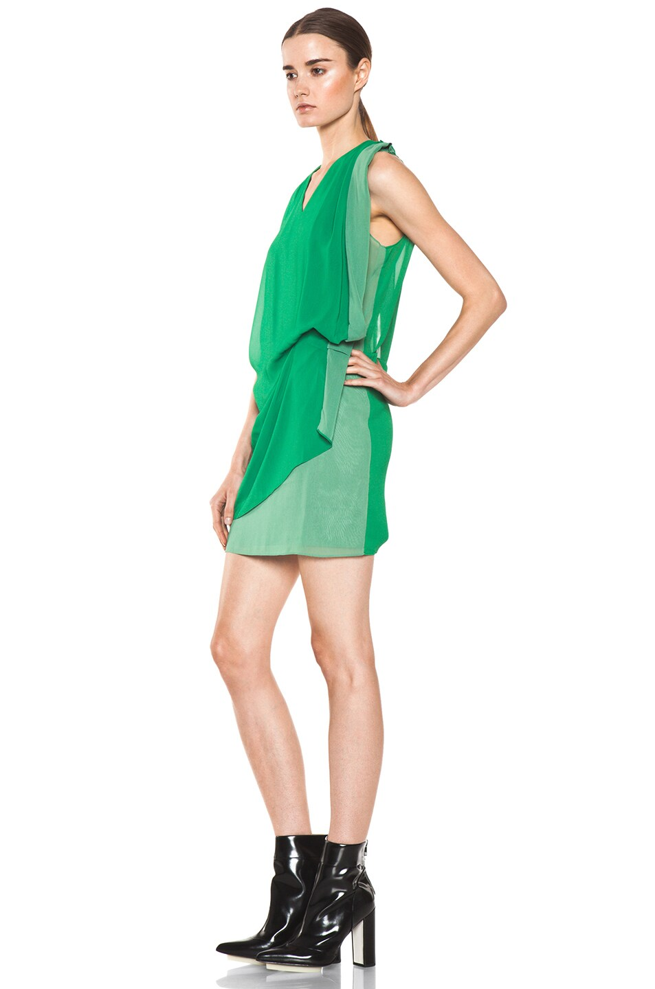 Image 2 of Acne Studios Mallory Contrast Dress in Green