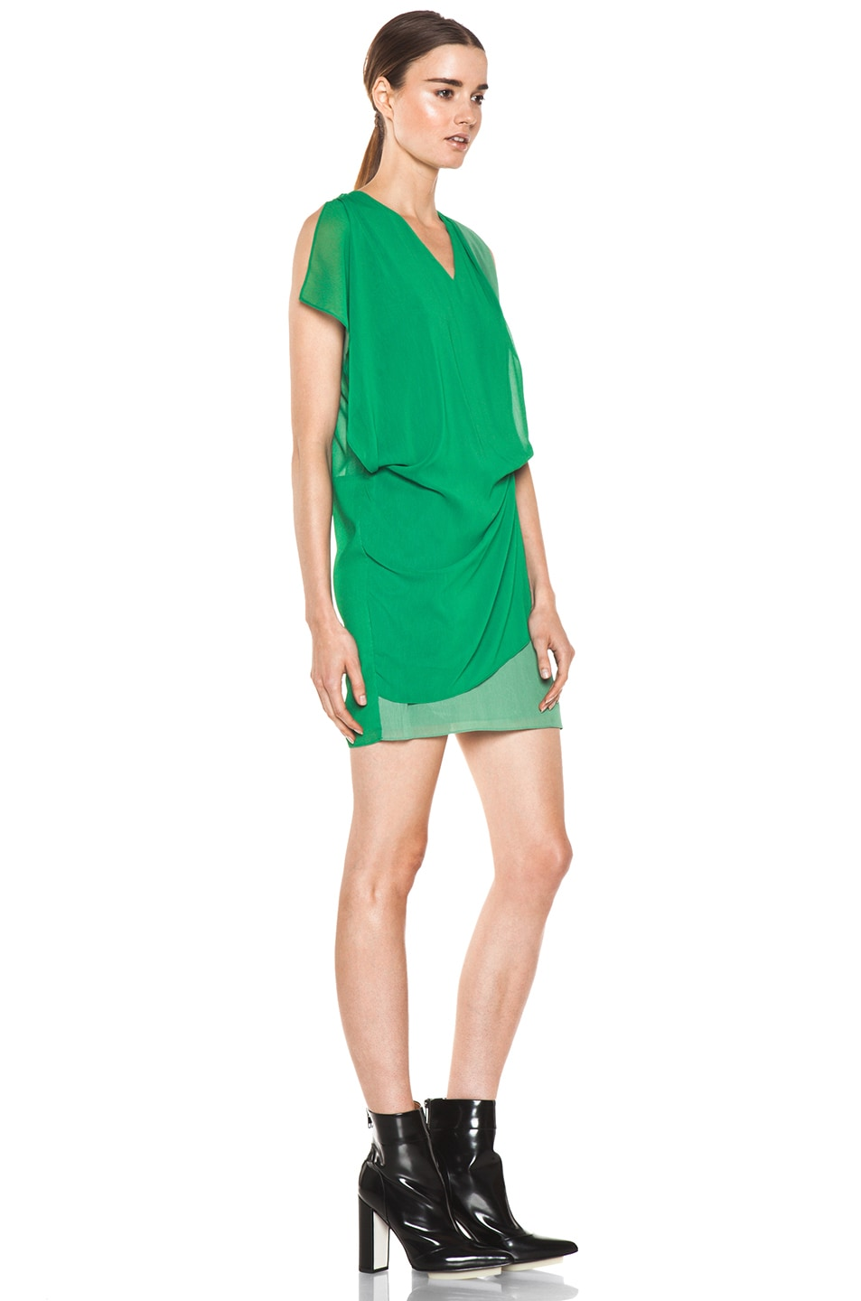 Image 3 of Acne Studios Mallory Contrast Dress in Green