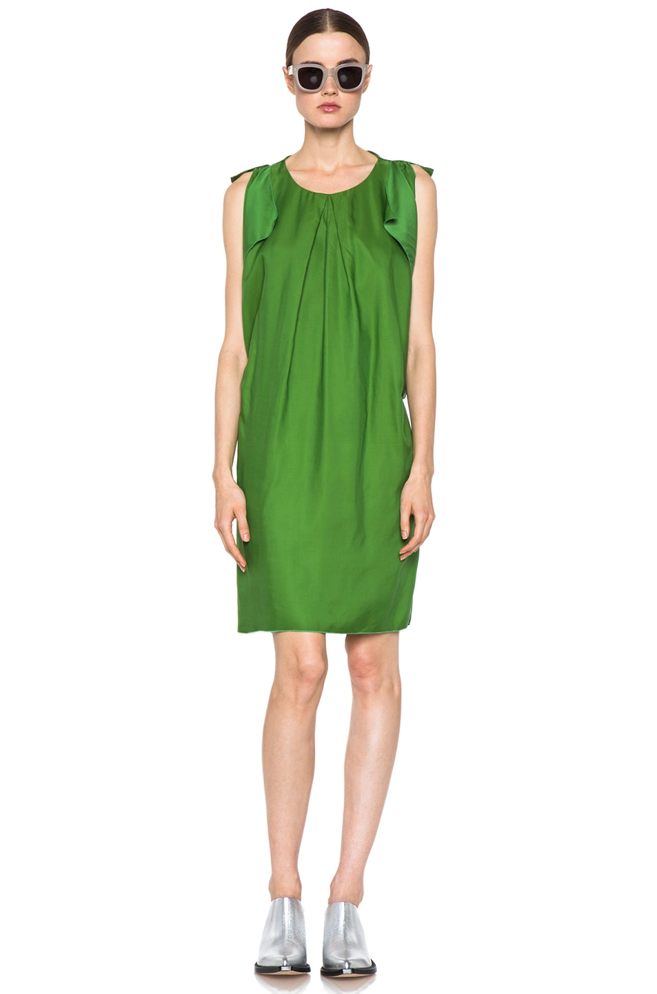 Image 1 of Acne Studios Marnay Lyocell-Blend Fluid Dress in Emerald Green