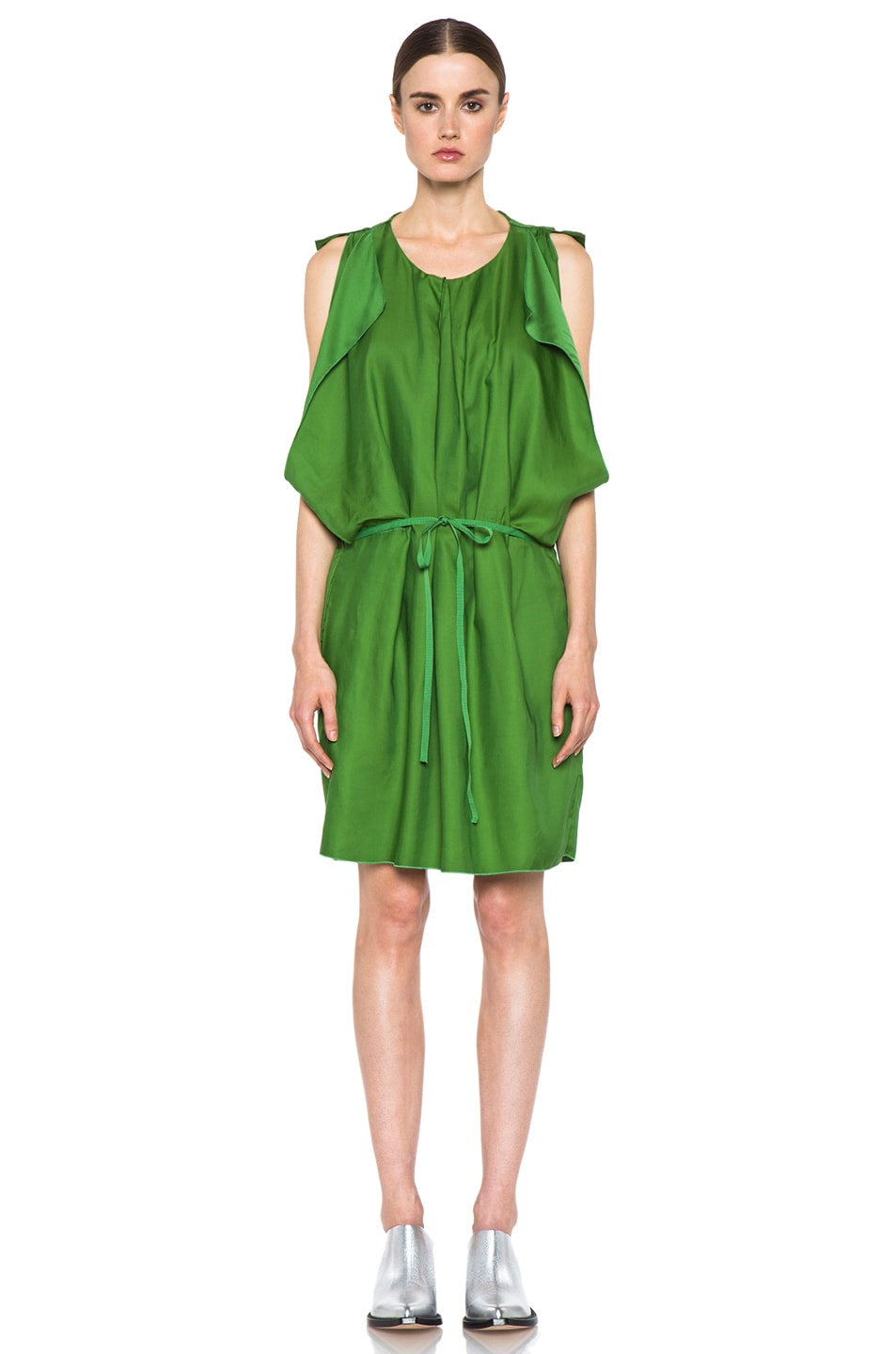 Image 2 of Acne Studios Marnay Lyocell-Blend Fluid Dress in Emerald Green