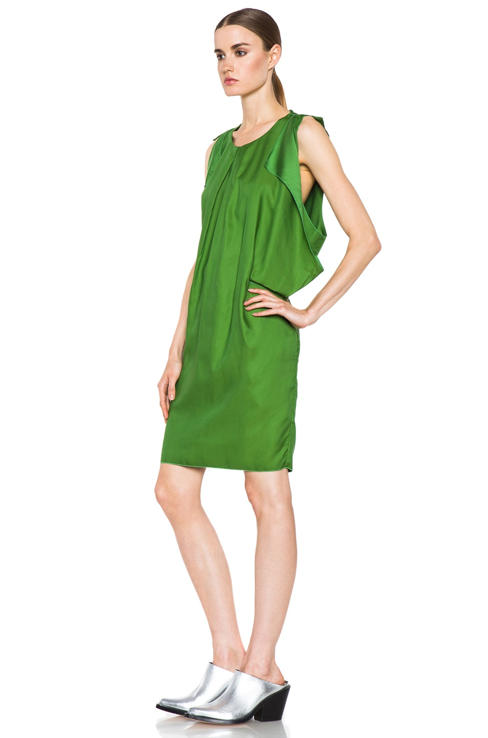 Image 3 of Acne Studios Marnay Lyocell-Blend Fluid Dress in Emerald Green
