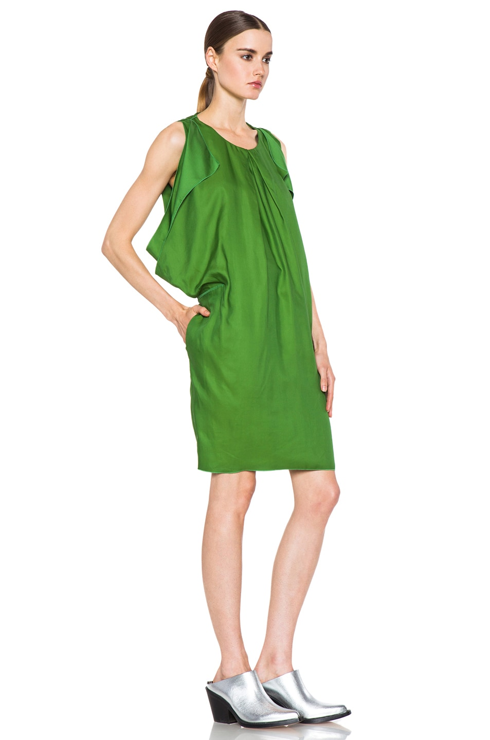 Image 4 of Acne Studios Marnay Lyocell-Blend Fluid Dress in Emerald Green