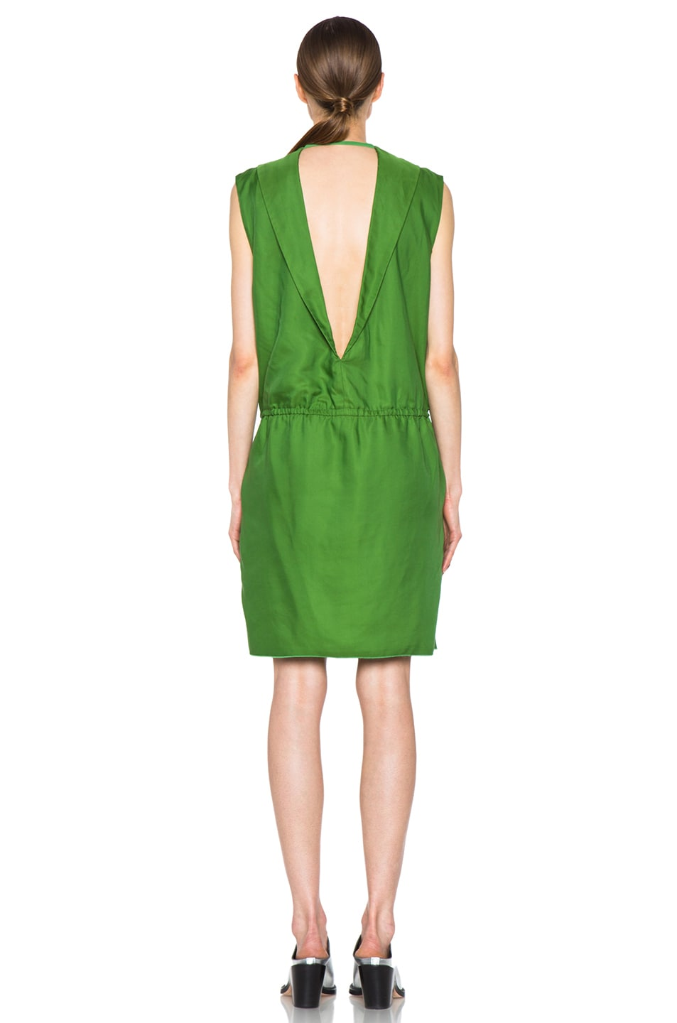 Image 5 of Acne Studios Marnay Lyocell-Blend Fluid Dress in Emerald Green