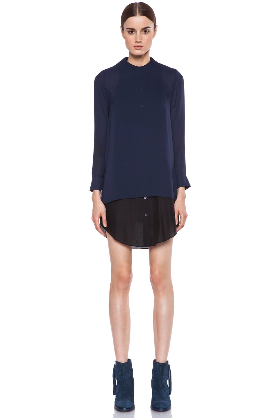 Image 1 of Acne Studios Piece Chiffon Dress in Midnight Blue