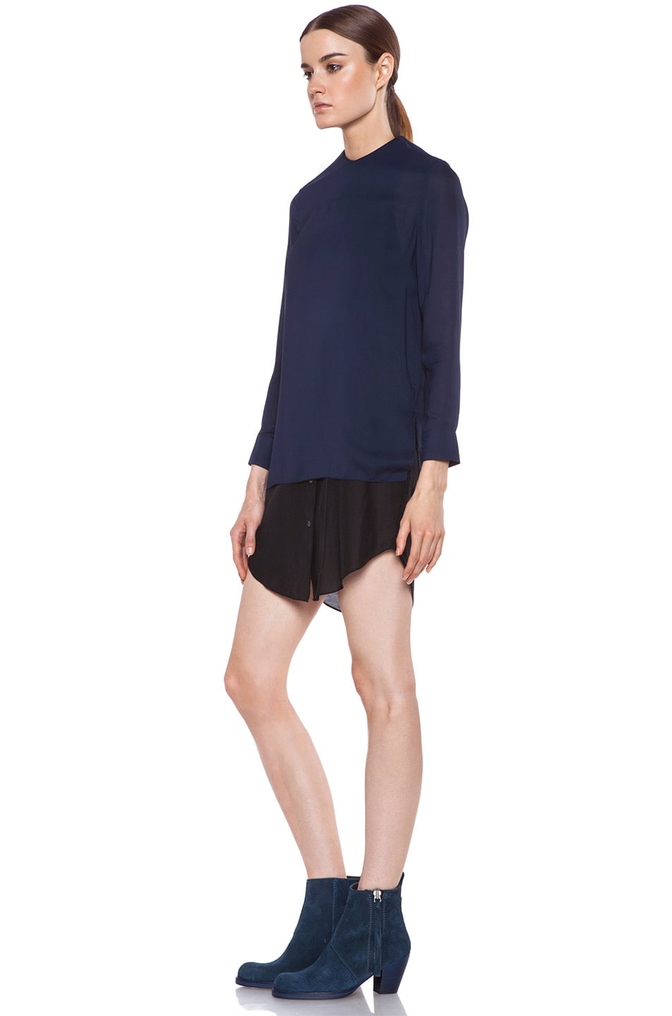 Image 2 of Acne Studios Piece Chiffon Dress in Midnight Blue