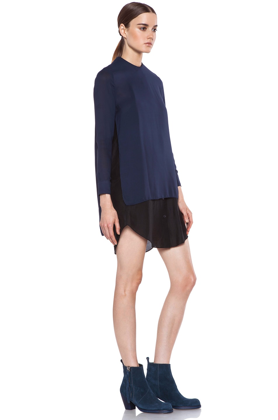 Image 3 of Acne Studios Piece Chiffon Dress in Midnight Blue