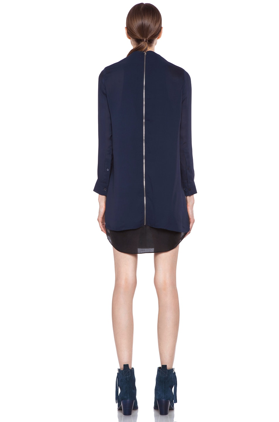 Image 4 of Acne Studios Piece Chiffon Dress in Midnight Blue